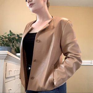 Ann Taylor camel cropped vintage leather jacket